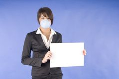 Executive woman with mask for swaine flu or others Royalty Free Stock Photos