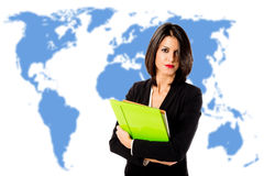 Executive woman over world map Stock Photos