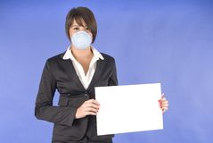 Executive woman with protective mask for swine flu. Or others Stock Images