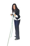 Executive woman pulling rope stock photos