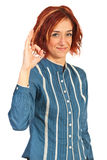 Executive woman show okay Royalty Free Stock Photo