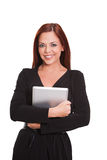 Executive woman with tablet. Isolated in white Stock Photo