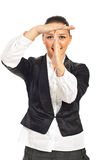 Executive woman time-out in front of face Stock Images