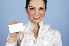 Executive woman with visiting card Royalty Free Stock Photo