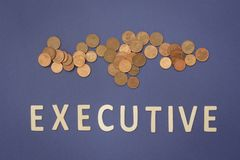 Executive written with wooden letters on a blue background. To mean a business concept Stock Images