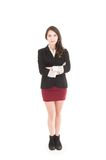 Executive young girl wearing red skirt and black Royalty Free Stock Images