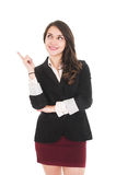 Executive young girl wearing red skirt and black Royalty Free Stock Photos