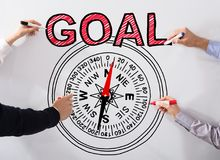 Executives Drawing Goal Concept On Whiteboard Stock Photos