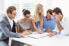 Executives in meeting at office. Young business people in meeting at office royalty free stock images