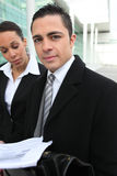 Executives outside an office Stock Photography