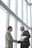 Executives shaking hands. Two executives shaking hands in front of large glass windows royalty free stock photo
