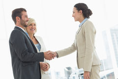 Executives shaking hands after a business meeting Royalty Free Stock Photos