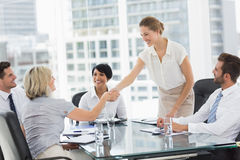 Executives shaking hands during a business meeting Royalty Free Stock Images