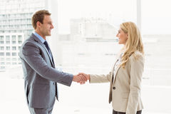 Executives shaking hands in office. Happy executives shaking hands in the office stock photos