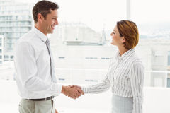 Executives shaking hands in office. Two happy executives shaking hands in the office stock image