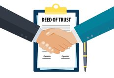 Executives shaking hands after signing deed of trust stock illustration