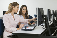 Executives Sitting In Computer Classroom Royalty Free Stock Photo