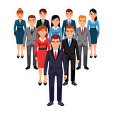 Executives team. Leadership concept. Executives team standing in form of triangle pyramid behind their leader. Leadership concept. Flat style vector illustration royalty free illustration