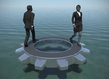Executives walking on a gear at sea. Two executives walking on a gear at sea demonstrates their talent and effectiveness Stock Images
