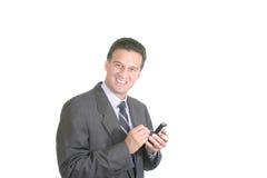 Executivo feliz com uma palma Fotografia de Stock
