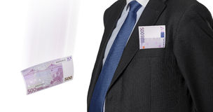 Executivo financeiro com a euro- conta isolada no branco Imagens de Stock Royalty Free
