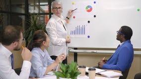 Executivo louro perto do whiteboard na instrução no escritório vídeos de arquivo
