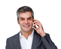 Executivo masculino entusiástico no telefone Imagens de Stock Royalty Free