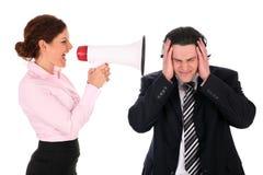 Executivos com megafone imagem de stock royalty free