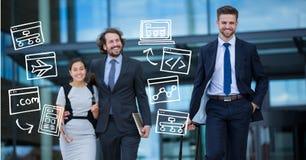 Executivos com vários ícones Imagens de Stock Royalty Free