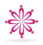 Executivos cor-de-rosa do logotipo dos trabalhos de equipa ilustração do vetor