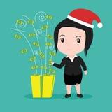Executivos da caixa de presente do dinheiro, feriado do Natal Imagens de Stock