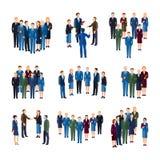 Executivos da coleção lisa dos ícones dos grupos ilustração do vetor