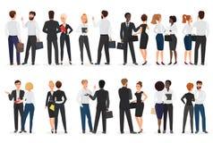Executivos da conversação Homem e mulher que estão junto e que falam, discutindo, negociando Vista dianteira e traseira ilustração stock