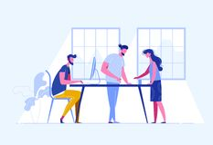 Executivos da reunião teamwork Exame da estratégia empresarial do ` s da empresa Ilustração do vetor em um estilo liso Fotografia de Stock Royalty Free