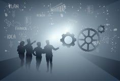 Executivos da silhueta Team Brainstorming Process do grupo ilustração do vetor
