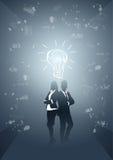 Executivos da silhueta Team Brainstorming Process do grupo ilustração stock