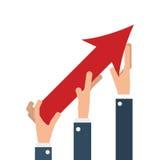 executivos das mãos com a seta acima do crescimento fotos de stock royalty free