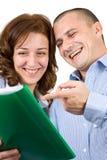 Executivos de sorriso do trabalho Fotografia de Stock Royalty Free