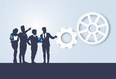 Executivos de Team Seminar Training Conference Brainstorming da silhueta ilustração stock