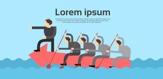 Executivos do chefe Teamwork Concept de Team Leader Swim On Arrow ilustração royalty free