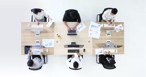 6 executivos do funcionamento, no escritório moderno filme