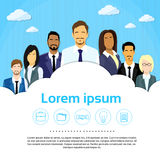 Executivos do grupo Team Cloud Copy Space Flat Imagem de Stock