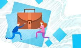 Executivos do grupo Team Hold Suitcase Professional Portfolio Imagens de Stock