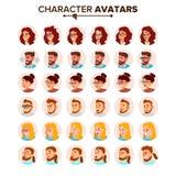Executivos do vetor do Avatar Homem, mulher Cara, emoções Placeholder do Avatar do caráter dos povos Pessoa do trabalhador de esc ilustração stock