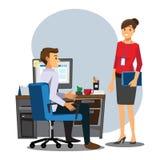 Executivos dos trabalhos de equipa, cônsul fêmea dos empregados dos empregados do sexo masculino ilustração royalty free