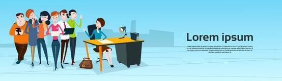 Executivos dos trabalhos de equipa de Team Boss Businesswoman Manager Sit ilustração royalty free