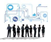 Executivos e símbolos relacionados do conceito do negócio Imagens de Stock Royalty Free