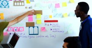 Executivos masculinos e fêmeas que discutem sobre notas pegajosas no whiteboard vídeos de arquivo