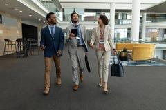 executivos Multi-étnicos que interagem um com o otro ao andar no assoalho do escritório imagens de stock