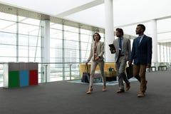 executivos Multi-étnicos que interagem um com o otro ao andar no assoalho do escritório fotos de stock